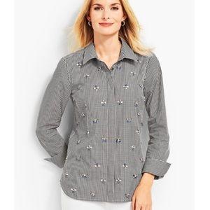 Talbots Black Gingham Embellished Shirt